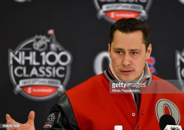 Ottawa Senators head coach Guy Boucher takes questions from the media following a 30 win over the Montreal Canadiens during the 2017 Scotiabank...