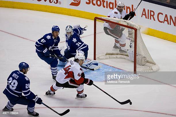 TORONTO ON OCTOBER 10 Ottawa Senators JeanGabriel Pageau takes a shot on goal against the Toronto Maple Leafs during the first period of their NHL...