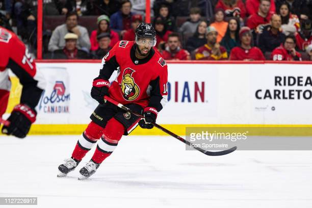 Ottawa Senators Left Wing Anthony Duclair keeps eyes on the play during third period National Hockey League action between the Calgary Flames and...