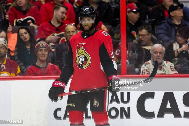 Ottawa Senators Left Wing Anthony Duclair waits for a faceoff during second period National Hockey League action between the Calgary Flames and...