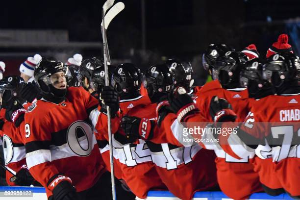 Ottawa Senators Left Wing Bobby Ryan celebrates his goal with his teammates at the bench during the Montreal Canadiens versus the Ottawa Senators...
