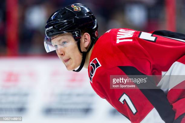 Ottawa Senators Left Wing Brady Tkachuk prepares for a faceoff during third period National Hockey League action between the Los Angeles Kings and...