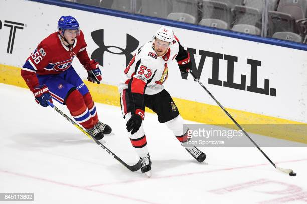 Ottawa Senators left wing Jack Rodewald skates with the puck during the second period of the NHL rookie tournament game between the Montreal...