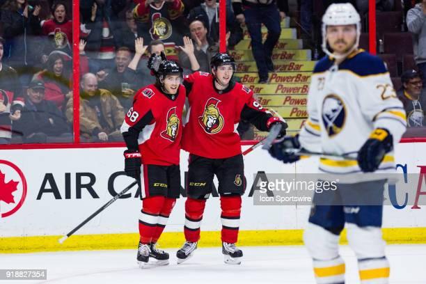 Ottawa Senators Left Wing Mike Hoffman celebrates his game winning goal with Ottawa Senators Center Matt Duchene during overtime National Hockey...