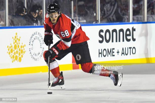 Ottawa Senators Left Wing Mike Hoffman gians control of the puck during the Montreal Canadiens versus the Ottawa Senators NHL100 Classic game on...
