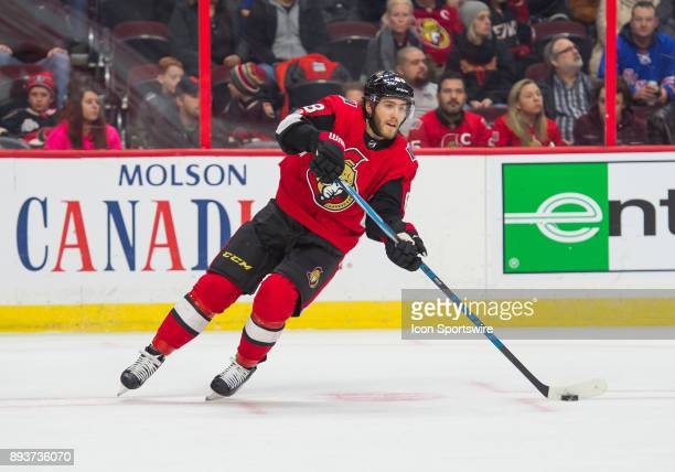 Ottawa Senators Left Wing Mike Hoffman stickhandles the puck during the second period of the NHL game between the Ottawa Senators and the New York...