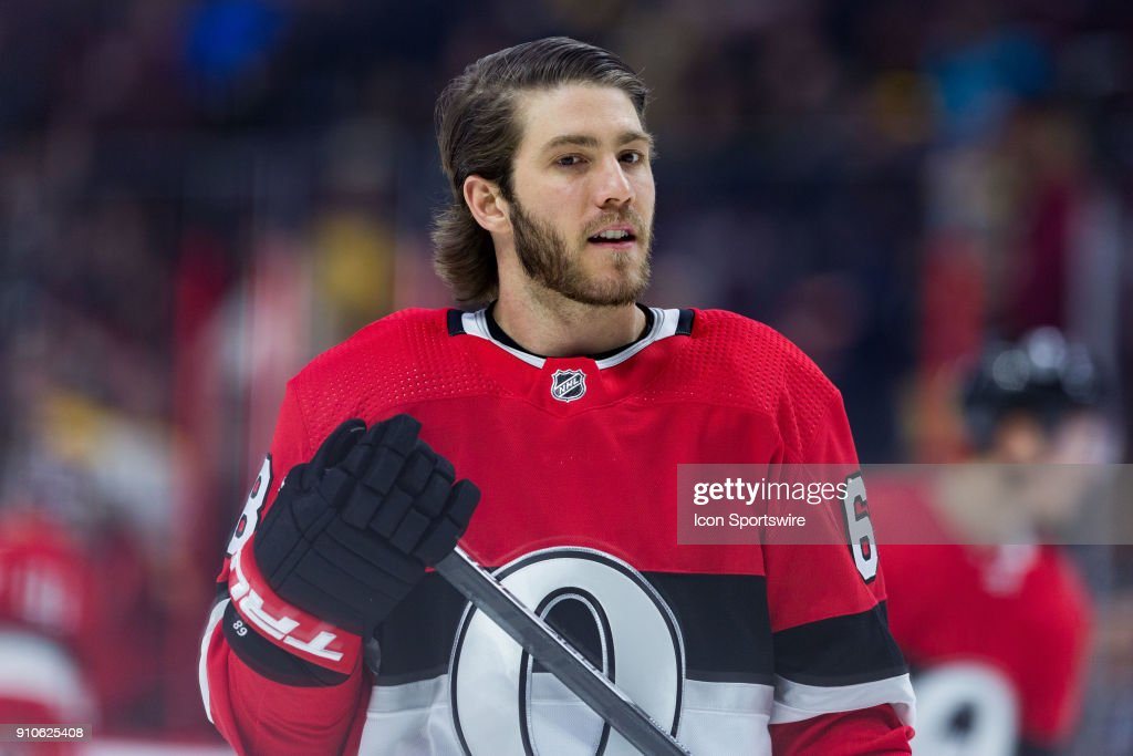 Ottawa Senators Left Wing Mike Hoffman (68) takes a moment during warm-up before National Hockey League action between the Boston Bruins and Ottawa Senators on January 25, 2018, at Canadian Tire Centre in Ottawa, ON, Canada.