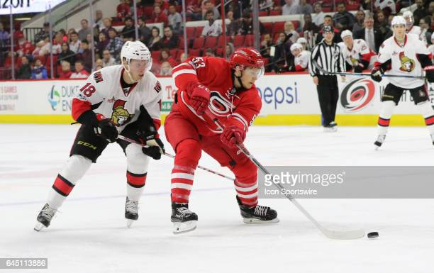Ottawa Senators Left Wing Ryan Dzingel and Carolina Hurricanes Left Wing Jeff Skinner in action during the 3nd period of the Carolina Hurricanes game...