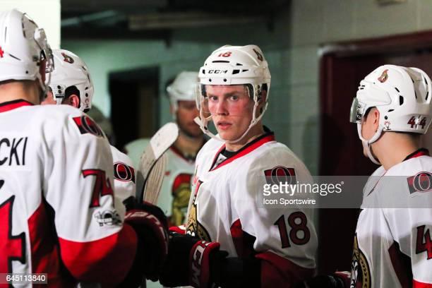 Ottawa Senators Left Wing Ryan Dzingel right before the 3nd period of the Carolina Hurricanes game versus the Ottawa Senators on February 24 at PNC...