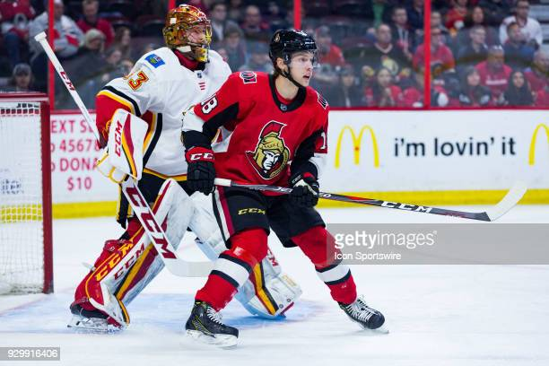 Ottawa Senators Left Wing Ryan Dzingel sets up in front of Calgary Flames Goalie David Rittich during first period National Hockey League action...