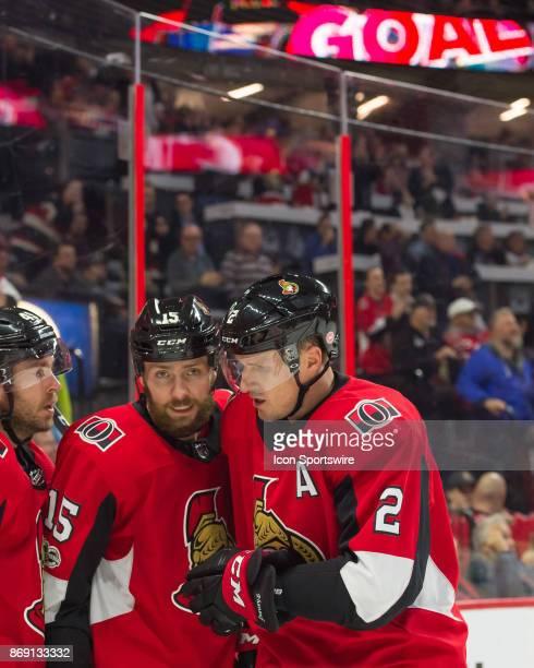 Ottawa Senators Left Wing Zack Smith and Ottawa Senators Defenceman Dion Phaneuf celebrate the Senators second goal in the first period during the...