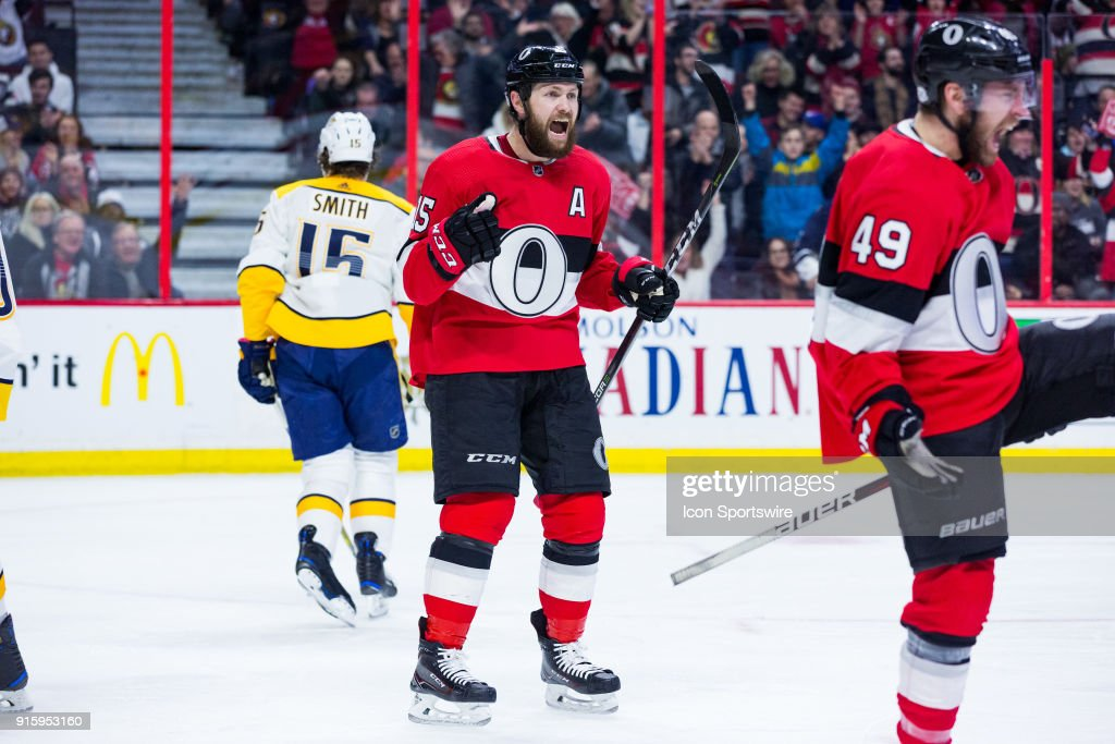 Ottawa Senators Left Wing Zack Smith (15) celebrates a goal during first period National Hockey League action between the Nashville Predators and Ottawa Senators on February 8, 2018, at Canadian Tire Centre in Ottawa, ON, Canada.