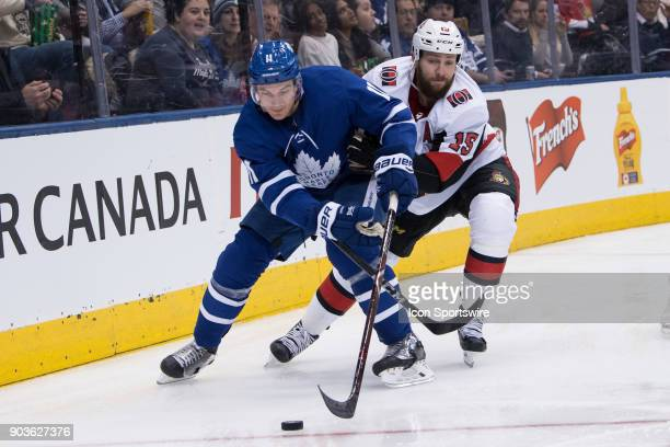 Ottawa Senators Left Wing Zack Smith challenges Toronto Maple Leafs Left Wing Zach Hyman during the second period of the NHL regular season game...