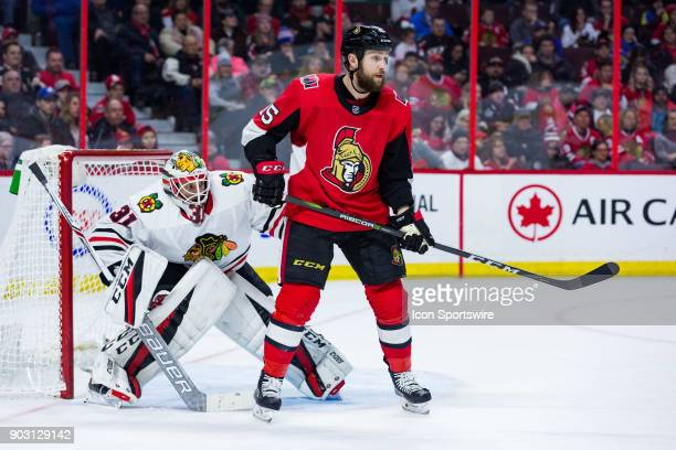 Ottawa Senators Left Wing Zack Smith sets up in front of Chicago Blackhawks Goalie Anton Forsberg during second period National Hockey League action...