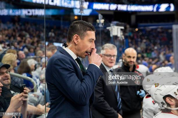 Ottawa Senators new Assistant Coach Chris Kelly and Head Coach Marc Crawford during the game against the Tampa Bay Lightning at Amalie Arena on March...