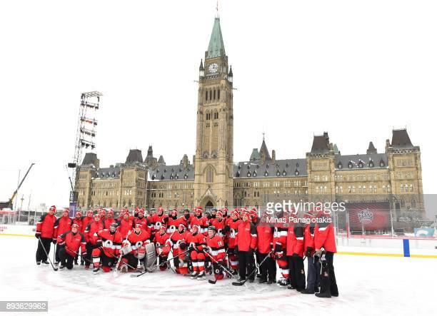 Ottawa Senators players and staff pose for a photo during the 2017 Scotiabank NHL100 Classic Ottawa Senators practice on Parliament Hill on December...