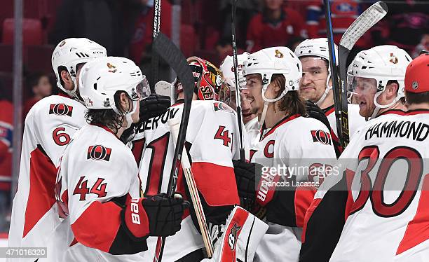 Ottawa Senators players celebrate after defeating the Montreal Canadiens in Game Five of the Eastern Conference Quarterfinals during the 2015 NHL...