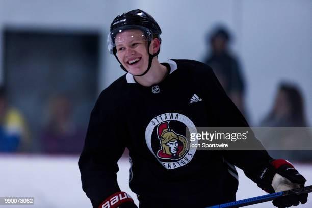 Ottawa Senators Prospect Left Wing Brady Tkachuk has a laugh during the Ottawa Senators Development Camp on July 2 at Bell Sensplex in Kanata ON...
