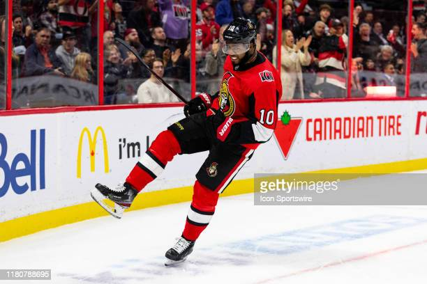 Ottawa Senators Right Wing Anthony Duclair celebrates his goal during second period National Hockey League action between the Los Angeles Kings and...