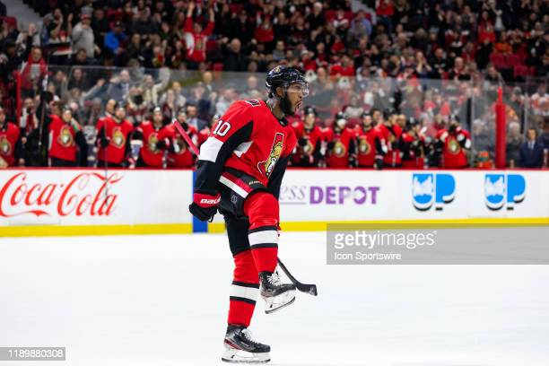 Ottawa Senators Right Wing Anthony Duclair celebrates his goal during second period National Hockey League action between the Philadelphia Flyers and...