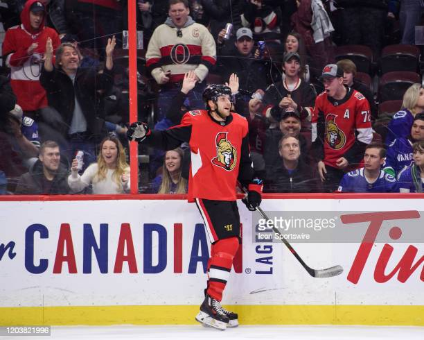Ottawa Senators Right Wing Bobby Ryan celebrates after scoring his hattrick goal in the third period against the Vancouver Canucks during the NHL...