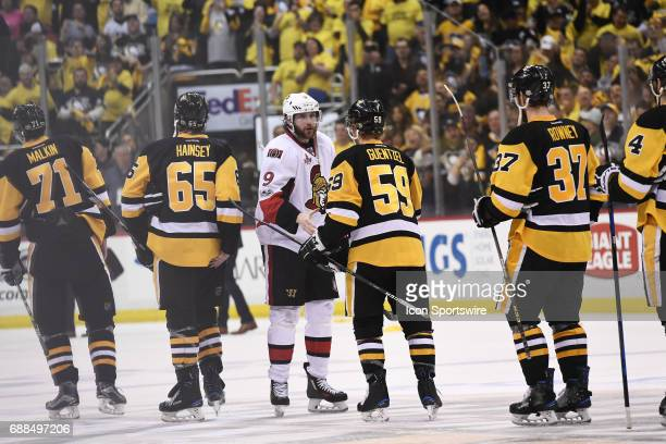 Ottawa Senators right wing Bobby Ryan shakes hands with Pittsburgh Penguins Left Wing Jake Guentzel after the game The Pittsburgh Penguins won 32 in...