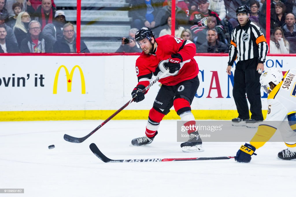 Ottawa Senators Right Wing Christopher DiDomenico (49) shoots the puck on goal during first period National Hockey League action between the Nashville Predators and Ottawa Senators on February 8, 2018, at Canadian Tire Centre in Ottawa, ON, Canada.