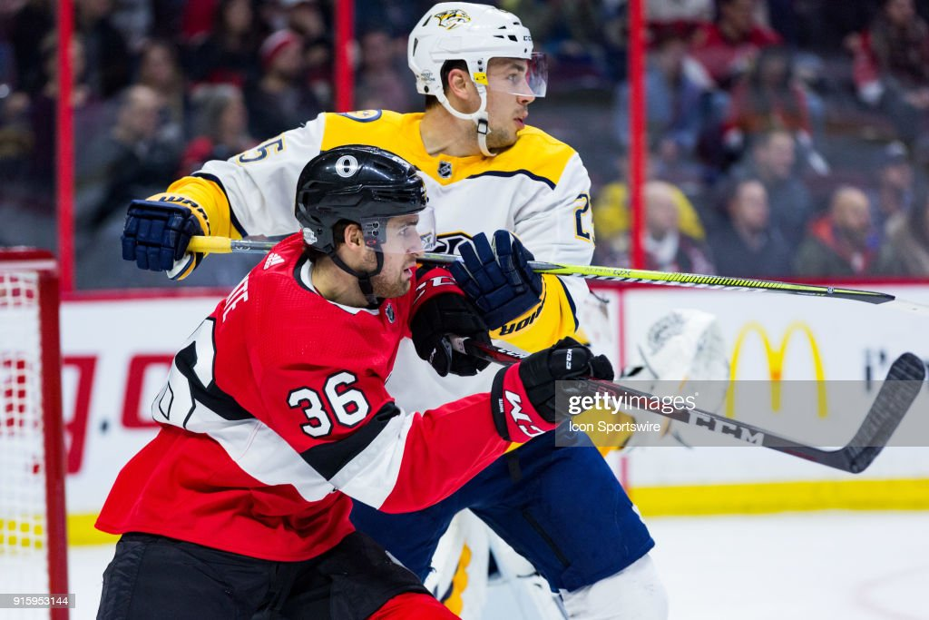 Ottawa Senators Right Wing Colin White (36) and Nashville Predators Defenceman Alexei Emelin (25) battle for position during first period National Hockey League action between the Nashville Predators and Ottawa Senators on February 8, 2018, at Canadian Tire Centre in Ottawa, ON, Canada.