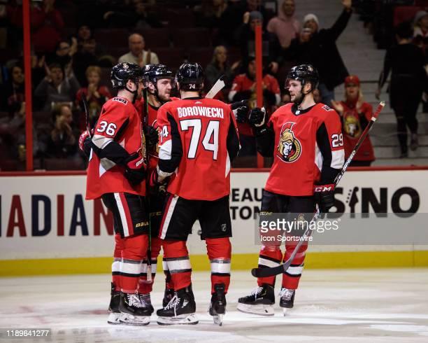 Ottawa Senators Right Wing Colin White Ottawa Senators Defenceman Mark Borowiecki Ottawa Senators Defenceman Cody Goloubef and Ottawa Senators Center...
