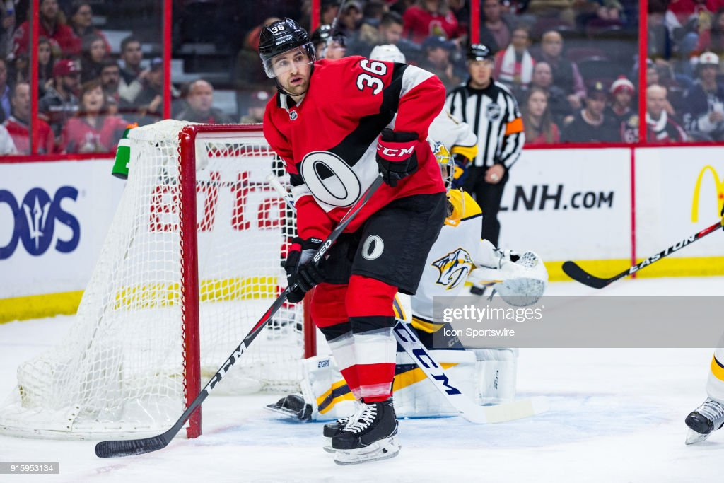Ottawa Senators Right Wing Colin White (36) takes up position beside the Nashville net during first period National Hockey League action between the Nashville Predators and Ottawa Senators on February 8, 2018, at Canadian Tire Centre in Ottawa, ON, Canada.