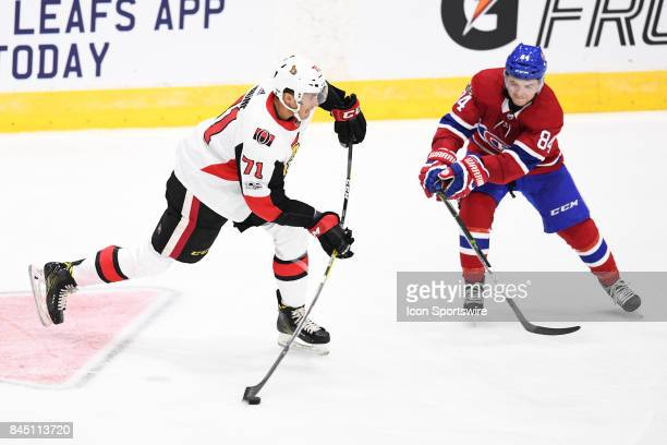 Ottawa Senators right wing Gabriel Gagne shoots the puck during the second period of the NHL rookie tournament game between the Montreal Canadiens...