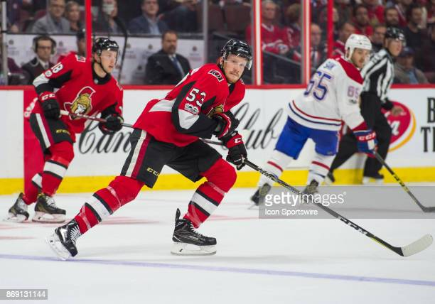 Ottawa Senators Right Wing Jack Rodewald skates during the NHL game between the Ottawa Senators and the Montreal Canadiens on Oct 30 2017 at the...