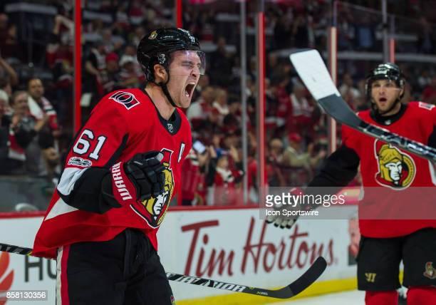 Ottawa Senators Right Wing Mark Stone celebrates after scoring the Senators forth goal during the NHL game between the Ottawa Senators and the...