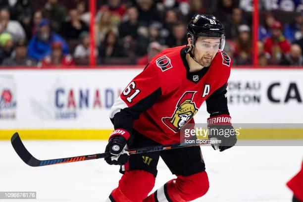 Ottawa Senators Right Wing Mark Stone chases the play during third period National Hockey League action between the Winnipeg Jets and Ottawa Senators...