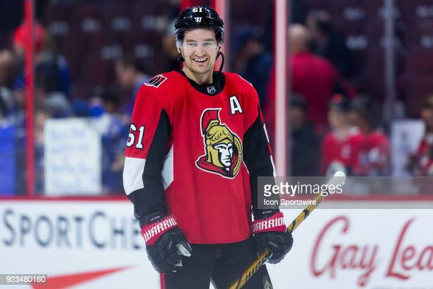 Ottawa Senators Right Wing Mark Stone takes a moment during warmup before National Hockey League action between the Tampa Bay Lightning and Ottawa...