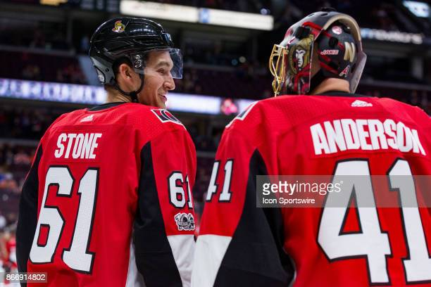 Ottawa Senators Right Wing Mark Stone to Goalie Craig Anderson during warmup before National Hockey League action between the Philadelphia Flyers and...