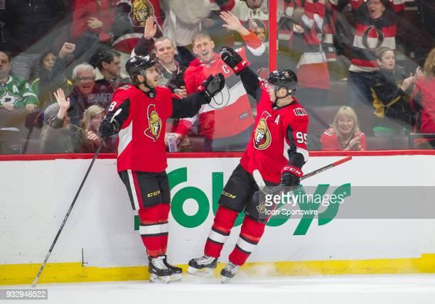 Ottawa Senators Right Wing Mike Hoffman celebrates his overtime goal with Ottawa Senators Center Matt Duchene during the NHL game against the Dallas...