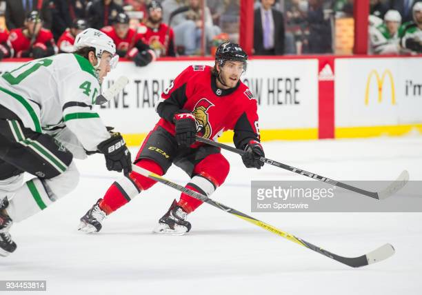 Ottawa Senators Right Wing Mike Hoffman skates during the second period of the NHL game between the Ottawa Senators and the Dallas Stars on March 16...