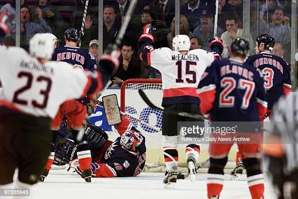 Ottawa Senators' Shawn McEachern celebrates a teammate's goal against the New York Rangers at Madison Square Garden The Senators won the game 32