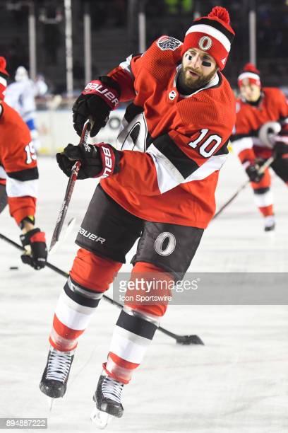Ottawa Senators Winger Tom Pyatt skates on the ice at warm up before the Montreal Canadiens versus the Ottawa Senators NHL100 Classic game on...