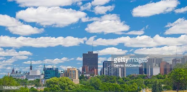 Ottawa skyline, with fluffy white clouds