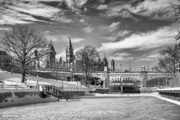 Ottawa's Parliament Buildings overlooking the frozen Rideau Canal ice skating rink