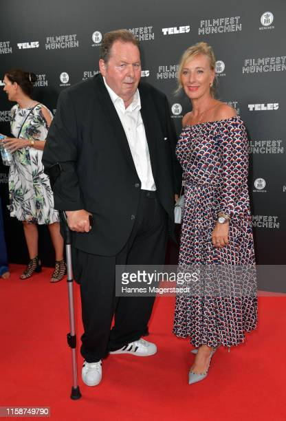 Ottfried Fischer and his girlfriend Simone Brandlmeier during the opening night of the Munich Film Festival 2019 at Mathaeser Filmpalast on June 27...