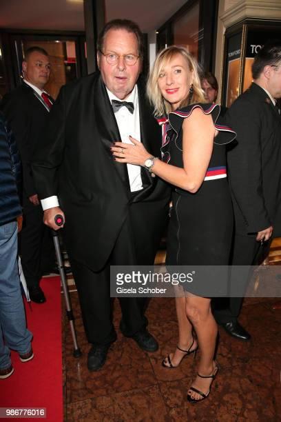 Ottfried Fischer and his girlfriend Simone Brandlmeier during the opening night of the Munich Film Festival 2018 reception at Hotel Bayerischer Hof...