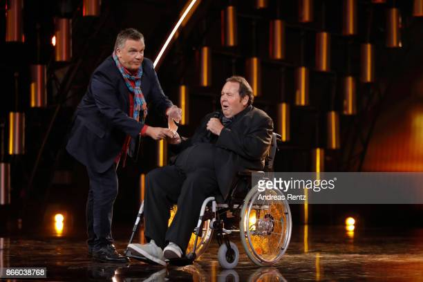 Ottfried Fischer receives his Honorary Award by Hape Kerkeling during the 21st Annual German Comedy Awards on October 24 2017 in Cologne Germany