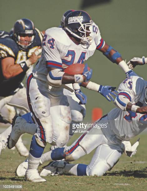 Ottis Anderson Running Back for the New York Giants runs the ball during the American Football Conference West game against the San Diego Chargers on...