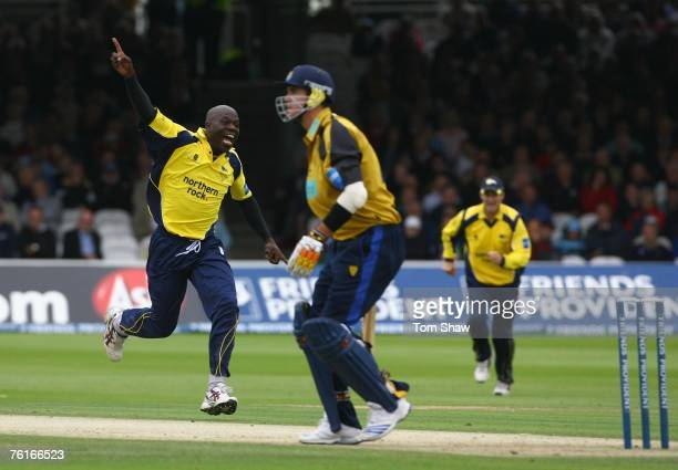Ottis Gibson of Durham celebrates taking the wicket of Kevin Pietersen of Hampshire during the Friends Provident Trophy Final between Hampshire Hawks...