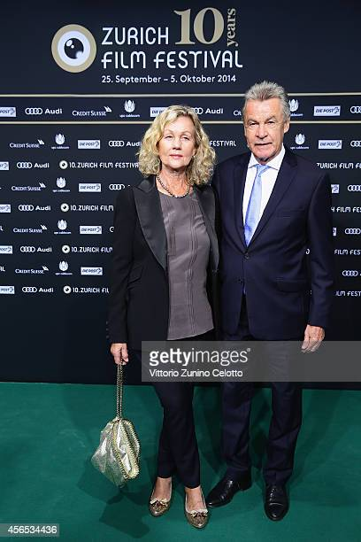 Ottmar Hitzfeld and Beatrix Hitzfeld attend the '10 Years Anniversary ZFF' Green Carpet Arrivals during Day 8 of Zurich Film Festival 2014 on October...