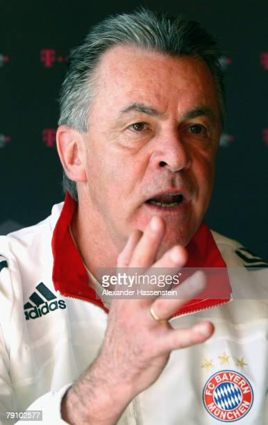 Ottmar Hitzfeld head coach of Bayern Munich talks to the media at a press conference during the Bayern Munich training session on January 18 2008 in...