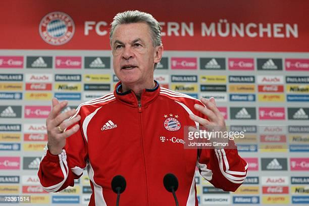 Ottmar Hitzfeld, headcoach of Bayern Munich addresses the media during the Bayern Munich training session at Bayern's training ground Saebener...
